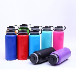 Wholesale Hot Coffee Drinks - Hot 32Oz Vacuum Water Bottle Insulated 304 Stainless Steel Water Bottle Travel Sport Coffee Mug Cup Wide Mouth Cups 8 Colors HH7-259