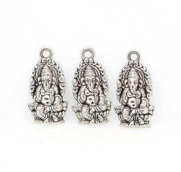 Wholesale Halloween Thailand - 100Pcs alloy Religion Thailand Ganesha Buddha Charms Antique silver bronze Charms Pendant For diy necklace Jewelry Making findings 14x27mm