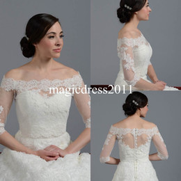 Wholesale Lace Shoulder Dress Bolero - Lace Sheer Off Shoulder 2015 Jackets Bridal Wraps Shawl Bolero Shrugs Stole Cloak Caps Half Sleeve Tulle Bridesmaid Wedding Dress Wrap FJ012