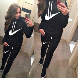 Wholesale Womens Blue Hoodie - Womens Letter Printed Fleece Sweatshirts Hoodies Pullover 2pcs set 2016 New Tracksuits sweatshirt and pant Joggings Sport Hot sale