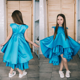 Wholesale Mid Length Tea Dresses - Lovely Blue Satin Tiered Pageant Dresses for Teens Hi-Lo Design Cap Sleeves Little Girls Prom Dress Birthday Christmas Gown Mid Length