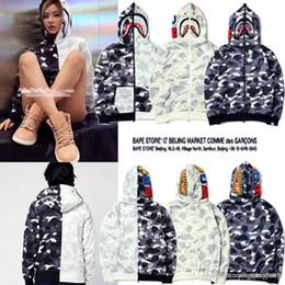 Wholesale Women Camo Fleece Jacket - Newest Europe American Tide Brand Men's Shark Hooded Camo Sweater Jacket Men Women Camouflage Plus Cashmere Sweater Hoodie