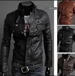 Wholesale Men Clothing Leather Sleeves - 2015 new Mens Stand Collar Leather Jackets Autumn New Men's Leather Jacket Locomotive Style Men's Slim Fit Leather Clothing Black Brown