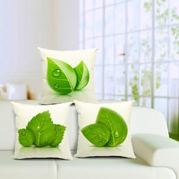 Wholesale Decorative Linen Burlap Pillows - 3 styles Burlap Decorative 45 cm *45 cm Throw Pillows Cover Green Leaf eco friendly sofa car office decor