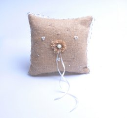 Wholesale Bridal Ring Pillows - Square Pearl Rhinestone Hollow Lace Linen With Sunflower Bridal Ring Bearer Pillow Beaded Wedding Ceremony Favors Box