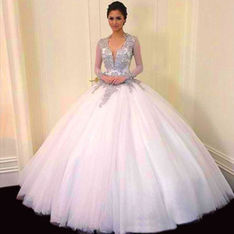 Wholesale White New Years Dress - Vestidos De Quinceanera New 2015 Sweet 16 V Neck Quinceanera Dresses Ball Gown Tulle For 15 Years Backless Long Sleeves Beads Evening Dress