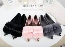 Wholesale Shoes Woman Hair - Sell like hot cakes--women spring and autumn rabbit hair pointed flat shoes , beautiful bowknot large size women shoes