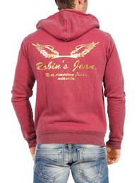 Wholesale Street Sweatshirt Collar - In 2016, New Robin Jeans Hoodie black White Red jeans zip up hoodie sweatshirts jacket printed wings fashion street wear M L XL XXL XXL XXXL