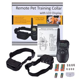 Wholesale Pet Display - 300 Meters 100LV Remote Anti-bark Vibra Electric Shock Pet Training Collar Control Trainer Aids With LCD Display For 2 Dogs