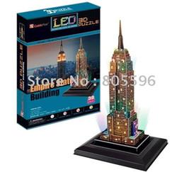 Wholesale 3d Puzzle Card Models - Wholesale-(Paper model)LED Light Building,3D DIY Models,Home Adornment,Puzzle Toy,Paper model,Papercraft,Card model, EMPIRE STATE BULIDING