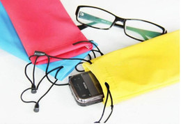 Wholesale Wholesale Glasses Pouch - free ship 200pcs  SunGlasses Pouch Microfiber Bag Soft Cleaning Case Soft waterproof Cloth Dust bag glasses Pouches Leather 17*9cm AAA+