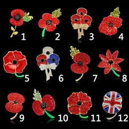 Wholesale Red Poppy Brooch - Brooch for Women 12PCS LOT Cheap Wholesale Lot Very Beautiful Sparkle Red Crystal Rhinestone Poppy Brooch Pins Christmas Brooches