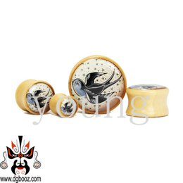 Wholesale Picture Body Jewelry - Wholesale-fashion picture wood ear plug tunnel piercing body jewelry 8-25mm WE-3110