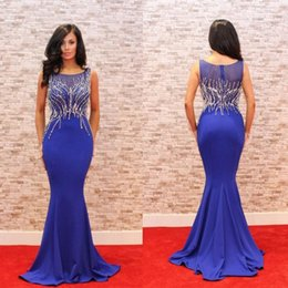 Wholesale Great Gatsby White Dress - Blue Mermaid Red Carpet Celebrity Dresses Evening Gowns With Crystal Beadings Long Women Prom Dresses Great Gatsby Vestidos De Fiesta