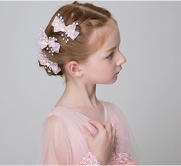 Wholesale Wedding Beads For Hair - Fashion Romantic Wedding Hair Accessories Lace Flowers Pearl Beads Alligator Hairpin Hair Clip For Women Girls Bridal A8015