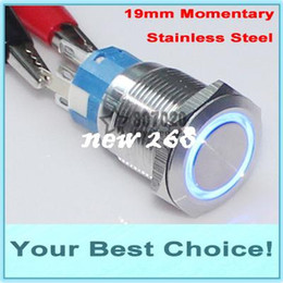 Wholesale Stainless Momentary Switch - 50pcs Lot 19mm Stainless Steel 12V LED Illuminated Car Automotive MOMENTARY Metal Push Button Switch (DHL Free Shipping)