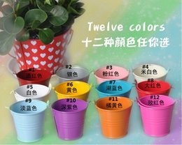 Wholesale Pail Candy Favors - 12 colors Chocolate Candy Pail Mix Tin pails Mini Pails wedding favors box mini bucket tin box Christmas favor gift