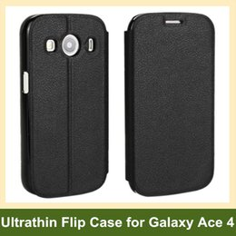 Wholesale Galaxy Ace Leather - Wholesale New Ultrathin PU Leather Flip Cover Phone Case for Samsung Galaxy Ace 4 LTE G357 SM-G313F Free Shipping