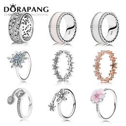 2019 pulsera de plata esterlina DORAPANG 925 Sterling Silver Marguerite anillo Fleur Rose Blanc radiante Coeurs Anneau Clair Fit DIY pulsera al por mayor fábrica rebajas pulsera de plata esterlina