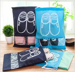 2019 bolsas de visión Bolsas no tejidas para zapatos de viaje con organizador de zapatos de ventana de visión clara a prueba de polvo para viaje y equipaje rebajas bolsas de visión