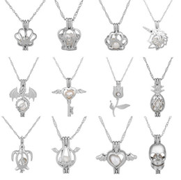Wholesale Love Lockets - 2018 HOT Oyster pearl Pendant Necklaces Unicorn Cages Locket Hollow Out Love Wish Pearl Necklace Fish Heart Mermaid Crown Skull DIY jewelry