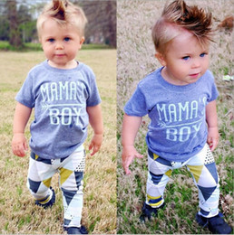 Wholesale Summer Boys Pcs Set - Boys Letter Tee+Triangle Long Pants Outfits Summer 2017 Baby Kids Clothes for Boutique Children Baby Boys Short Sleeves Pants 2 PC Set