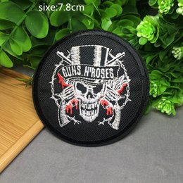 Wholesale Skull Iron Embroidered Patch - 7.8cm*7.8cm free shipping skull embroidered Iron Quality Appliques DIY Hat garment bag patches
