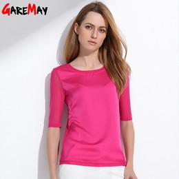Wholesale Silk Blouse For Summer - women blouses 2017 summer silk chiffon tops for women Elegant o-neck half sleeve green formal work wear blouse Female Tops 047 q171135