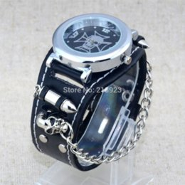 Wholesale Hanging Chain Watches - car Punk Style Rock Women Skull Bullet Genuine Leather Band Analog Quartz Hanging chain Wrist Watch