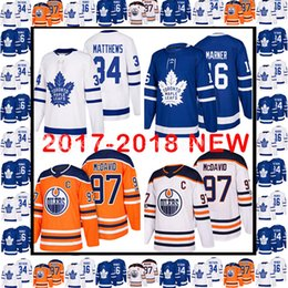 Wholesale Toronto Maple Leaf Jerseys - 2017-2018 New 97 Connor McDavid 34 Auston Matthews 16 Mitch Marner Jersey Toronto Maple Leafs Edmonton Oilers Hockey Jerseys