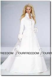 Wholesale Ivory Satin Wedding Coat - 2016 Elegant High Neck Wedding Cloak Long Sleeves Faux Fur Floor Length Bridal Jacket White Ivory Satin Winter Bride Capes Coat