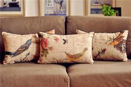 Wholesale Floral Sofas - Wholesale-Vintage Country Floral Bird Cushion cover Waist Throw Cotton Linen Cushion Pillow Home Decorate sofa Cushions 30*50cm 3PCS LOT