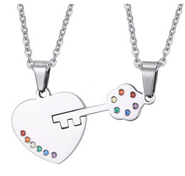 Wholesale Male Heart Necklace - Fashion Lock and Key Necklace & Pendants Stainless Steel Lover Pendant Necklace for Male and Female Rainbow Gay Pride Pendant Jewelry