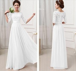 Wholesale Women S Formal Dresses - Free Shipping Sexy Womens Chiffon Lace Boho Long Maxi Evening white lace dresses women Formal Party Runway Dress