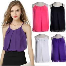 Wholesale White Vest Tops For Women - New 2015 Sexy Chiffon Summer Camis Tank tops for Women Fashion Plus size Straps Base Camisoles Bandage Tanks Tops Vests Shirts