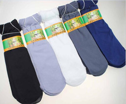 Wholesale sweat socks men - Wholesale-200PCS=100Pairs Lot Man Spring Summer Bamboo fiber material Socks 5color slim socks Prevent Slip Prevent Sweating For 10-60 old
