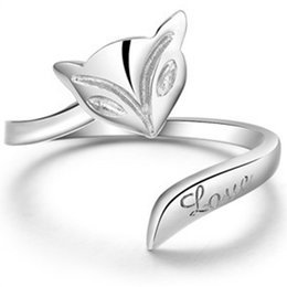 Wholesale 925 Wholesale Silver Ladies Rings - Wholesale-Hot 925 Sterling Fashion Silver Lady Ring Finger Opening Adjustable Fox New
