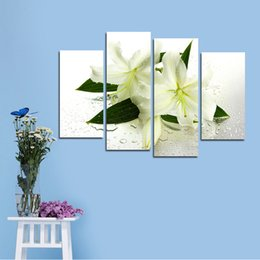 Wholesale Lily Flower Wall Canvas - Four Parts Of Lily Flower Decorative Painting Living Room Bedroom Sofa TV Background Wall Oil Ink Brush Spray Painting