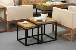 Wholesale Country Coffee Tables - American country wrought iron coffee table wood coffee table factory direct fashion small apartment Coffee Tables