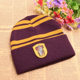 Wholesale Badge Army - Cosplay Harry Potter Hat Knit Beanies Hogwarts Badge Hats Gryffindor Hufflepuff Slytherin Ravenclaw Striped Caps Gifts