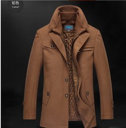 Wholesale Wool Coat Parka - Fall-Mens Double Collar Wool Parka Winter Warm Coat Outerwear Thick Jacket Overcoats bt457