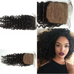 Wholesale Healthy Natural Hair - No chemical healthy virgin remy brazilian deep wave 8-24 inches silk base human hair 4*4 lace closures natural color G-EASY free shipping