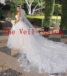 Lunghi bei belli online-The Veil Custom 5 Meters Long Lace Appliques Romantic Beautiful For Wedding Lussuoso Glamorous Chic White