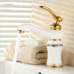 """Wholesale Porcelain Paint Sink - 8"""" White Painted Flower Porcelain Faucets Bathroom Brass Faucet Sink Basin Mixer Tap GM1007"""
