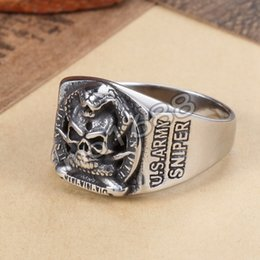Wholesale Stainless Skull Rings - 361L Stainless Steel Sniper United States US Army Military Skull Ring Size 7-13
