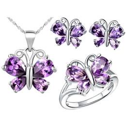 925 collane d'argento della farfalla insiemi online-Alta qualità 925 gioielli in argento placcato Set farfalla set pendente collana + anello + orecchini + 925 set di cristallo catena d'argento