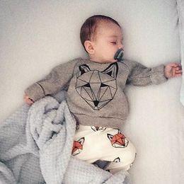 Wholesale Fox Pajamas - INS Boys Baby Childrens Clothing Sets Fox tshirts Harem Pants 2pcs Set Cartoon Cotton Toddler Spring Autumn Home Pajamas Infant Clothes