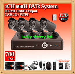 Wholesale Cctv Dvr Box - CIA- Free shippping!CCTV System 700TVL 4ch DVR Kit Security Camera System IR Outdoor Cameras CCTV 4CH 960H DVR, Network Monitor