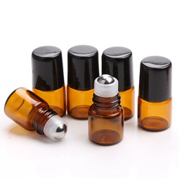 Wholesale Empty Glass Roll Bottles - 600pcs lot Empty Mini 2ml Amber Roll on Glass Bottles Essential Oil Liquid Perfume Bottle With Metal Roller Ball Small Sample Bottles