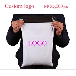 Wholesale Favor Express - 25*30cm 500pcs printed your own logo White PE Mailing Bags Plastic Mailers Bag Poly Mailing Courier Envelope Express Posting